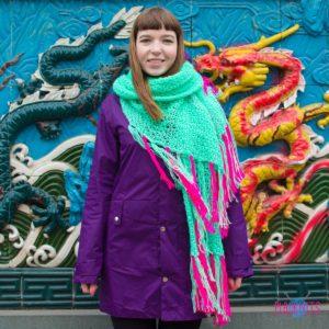 Ментоловый длинный вязаный шарф ручной работы Аквамариновые дни