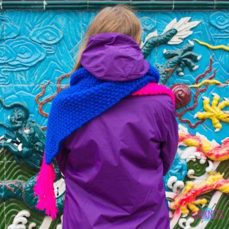 Сине-розовый длинный вязаный шарф ручной работы Гибридизация