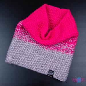 Розово-серый вязаный снуд ручной работы Градиент