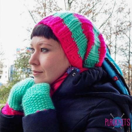 Розово-ментоловая вязаная повязка для дред и варежки