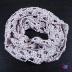 Серый вязаный шарф-снуд в два оборота ручной работы Кристалл