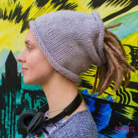 Серая вязаная повязка на голову для дред, дредошапка экзо