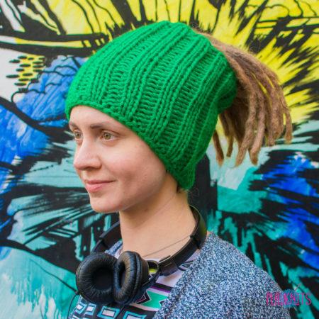 Зелёная вязаная повязка на голову для дред Энтальпия