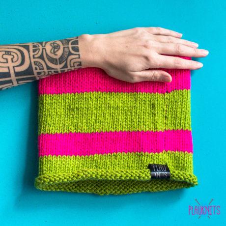 Розово-зелёная вязаная повязка для дред ручной работы Экзо