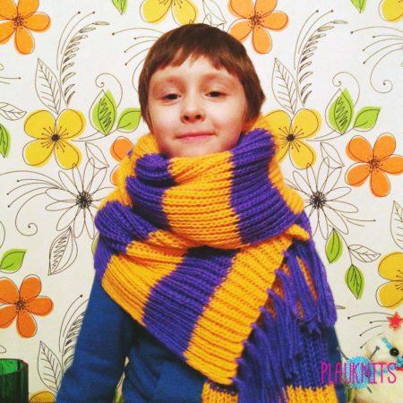 Длинный мужскойвязаный шарф в полоску ручной работы