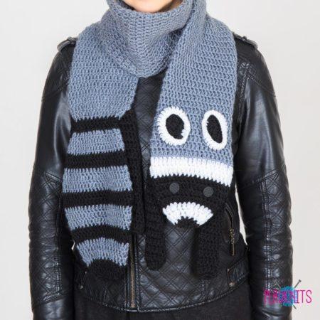 Вязаный шарф ручной работы Зверошарф Енот