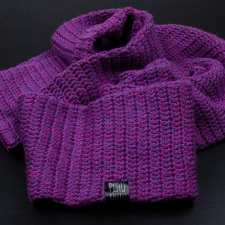 Фиолетовый вязаный снуд в два оборота ручной работы Путь