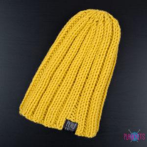 Тонкая горчичная вязаная шапка Симпл
