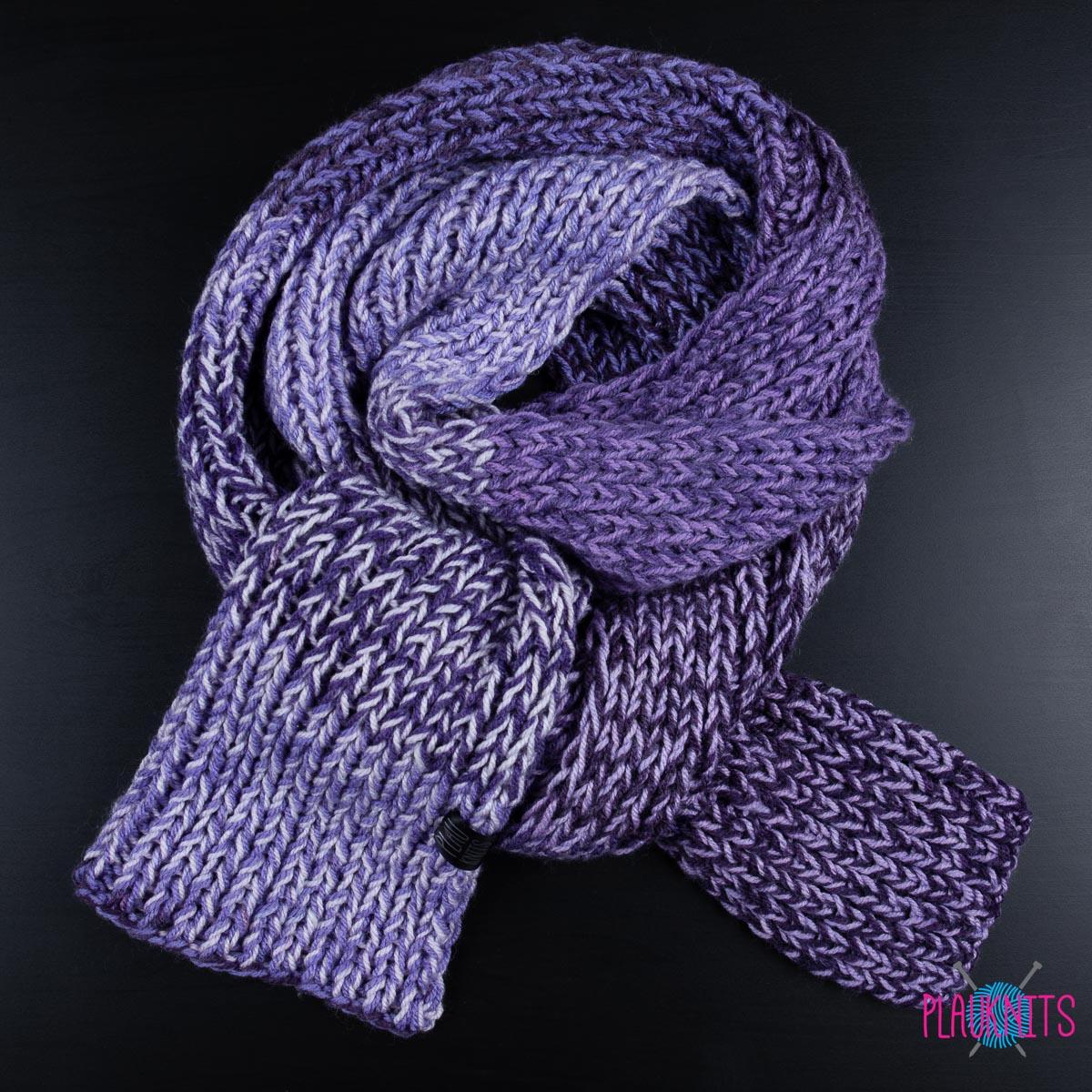 фиолетовый длинный вязаный шарф Plauknits