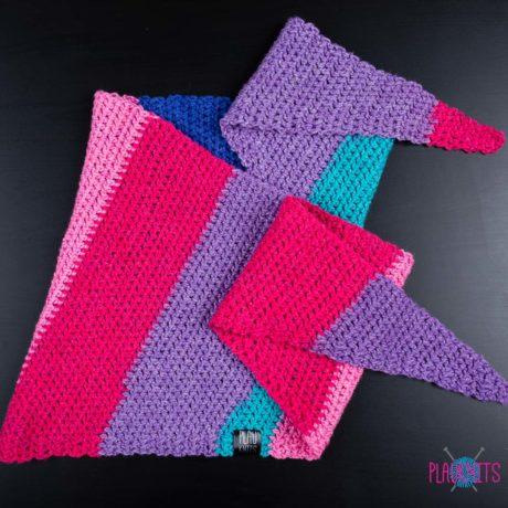 Разноцветный вязаный шарф бактус ручной работы