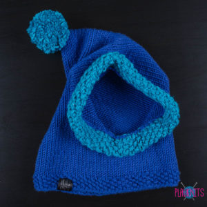 Синий вязаный шапка-капюшон ручной работы