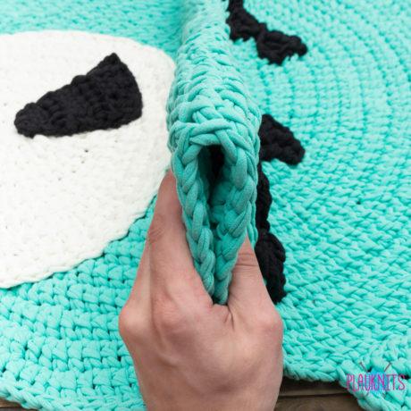 Бирюзовый детский ковер из трикотажной пряжи Мишка