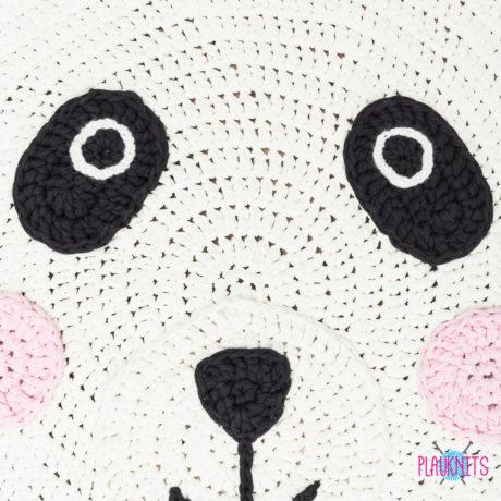 Белый детский ковер из трикотажной пряжи Панда