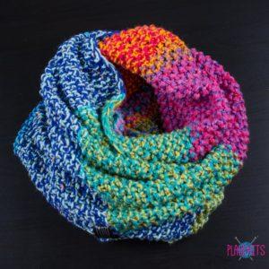 Разноцветный снуд в два оборота ручной работы Радуга