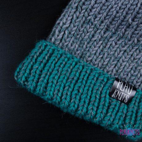 Серо-зеленая меланжевая вязаная шапка ручной работы Симпл