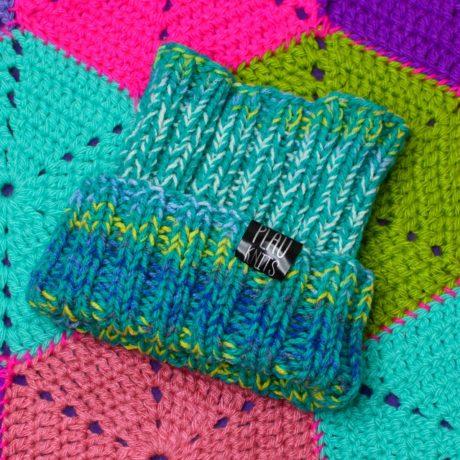 Бирюзово-голубая вязаная повязка для дред ручной работы