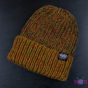 Болотно-коричневая вязаная шапка ручной работы с подворотом Симпл