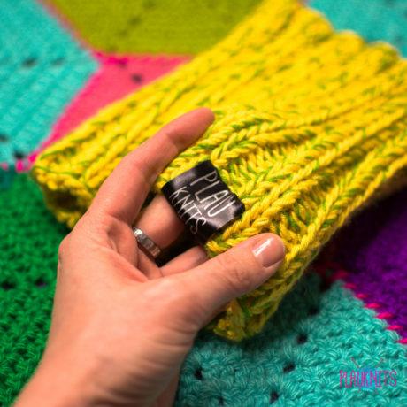 Жёлто-зелёная вязаная повязка для дред Энтальпия