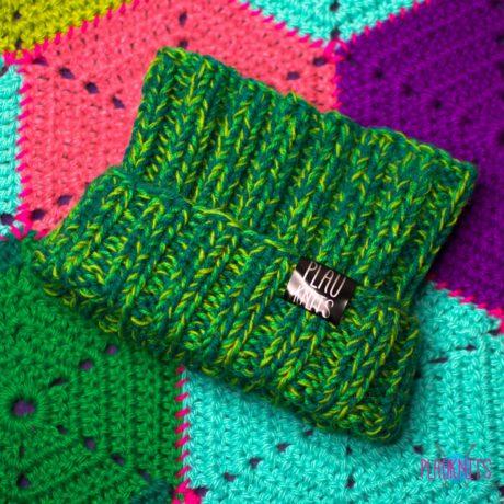 Зелёно-салатовая вязаная повязка для дред Энтальпия ручной работы