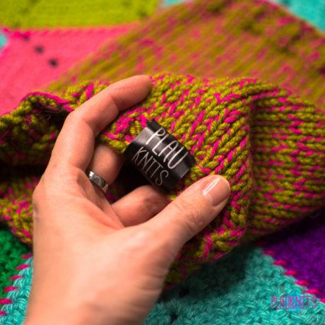 Малиново-болотная вязаная повязка для дред ручной работы