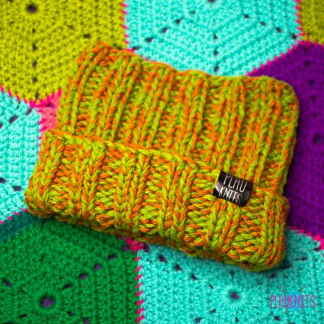 Зелёно-оранжевая толстая вязаная повязка для дред Энтальпия