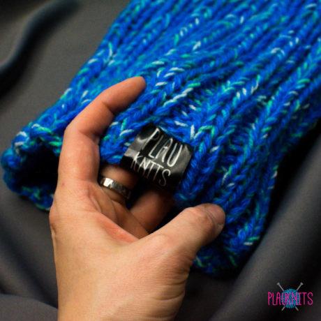 Сине-голубая вязаная повязка для дред