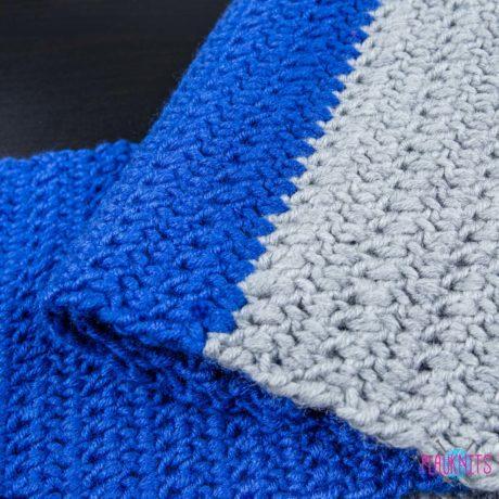 Сине-серый мужской вязаный шарф ручной работы Плоскость