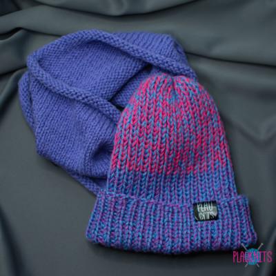 Сиренево-розовый вязаный комплект шапка и снуд ручной работы