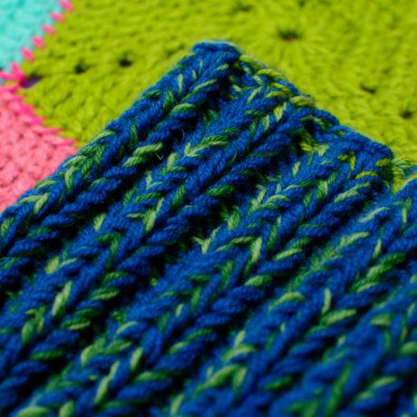 Тёмно-сине-зелёная вязаная дредошапка повязка для дред Литл