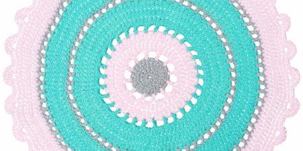 Бирюзово-розовый ковер из трикотажной пряжи ручной работы Пастель 90 см