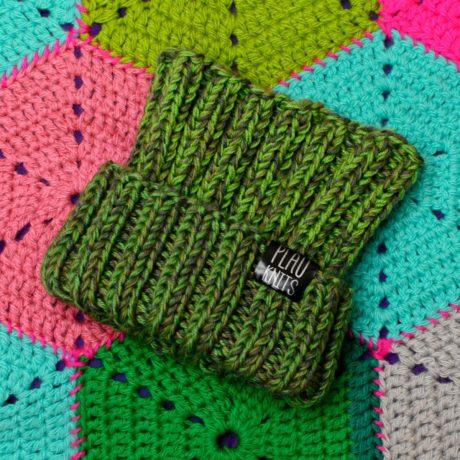 Зелёно-болотная вязаная повязка для дред ручной работы