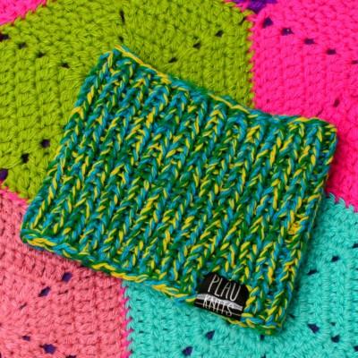 Зелёно-жёлтая вязаная повязка для дред Литл